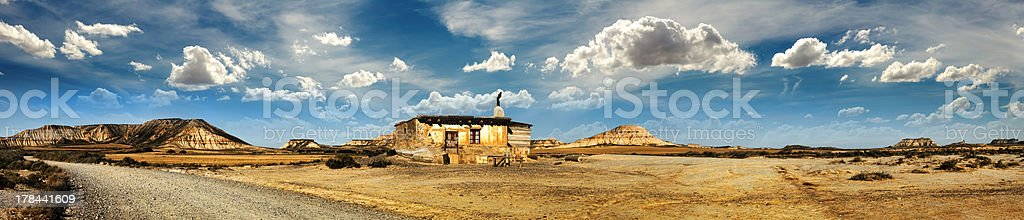 Little House on the Prairie panoramic image stock photo