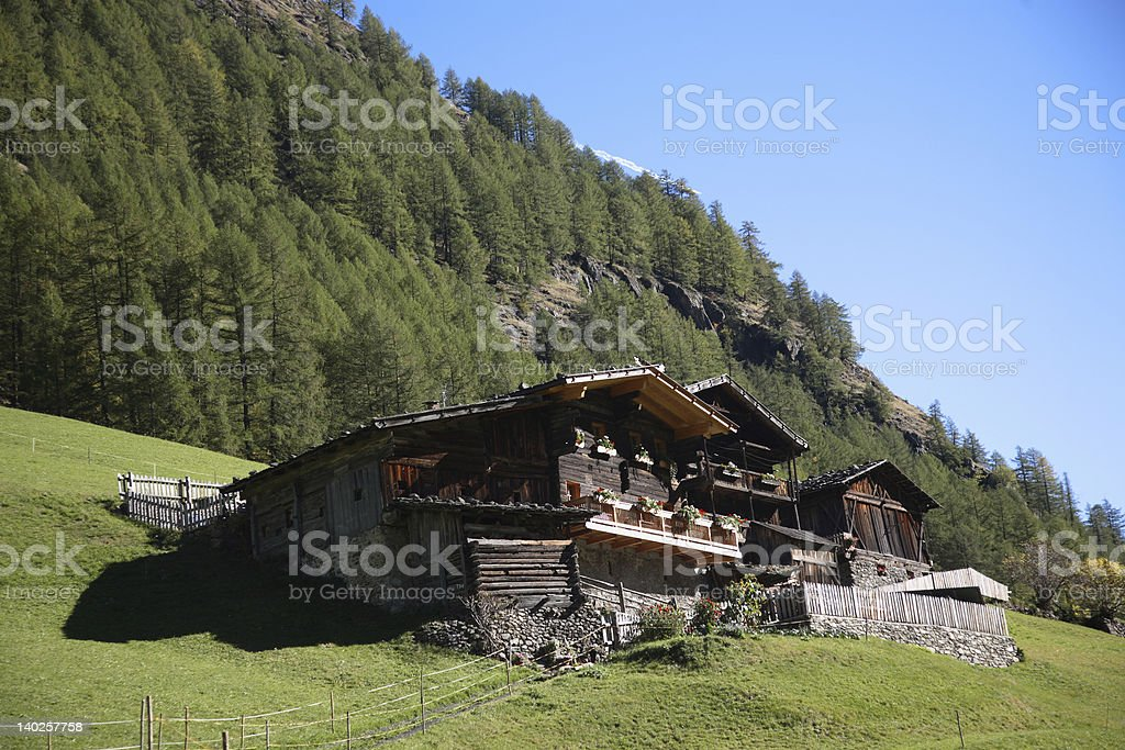 little hut in alps royalty-free stock photo