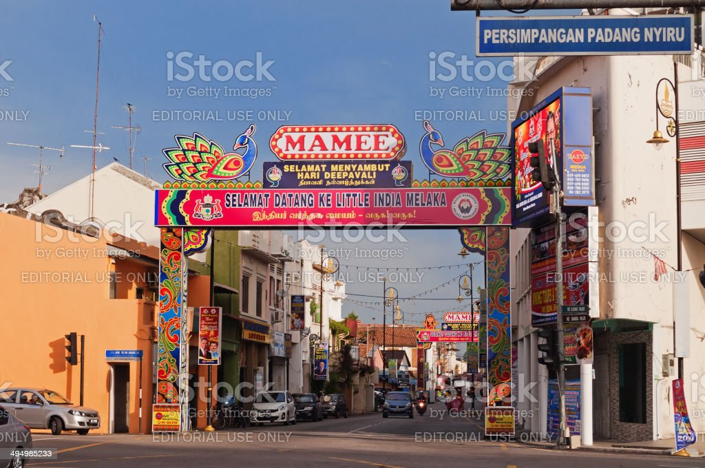 Little India in Malacca stock photo