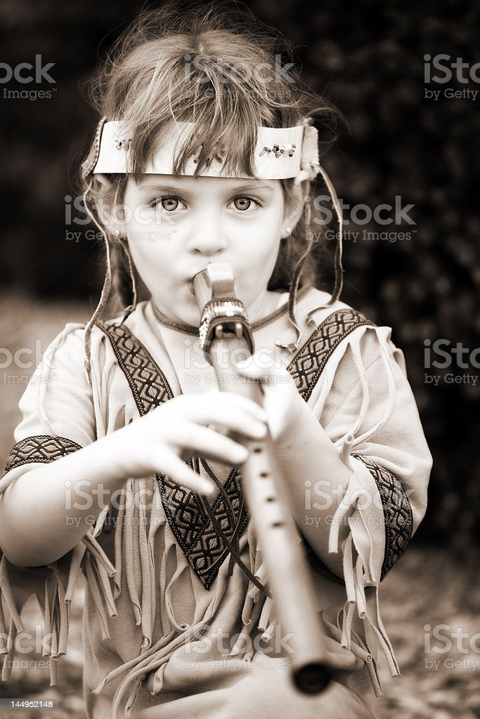 Little Indian Flute Player royalty-free stock photo