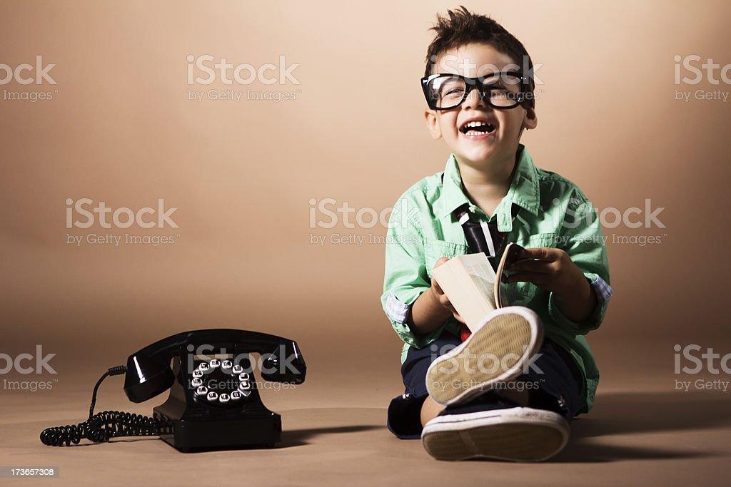 Little intelligent boy stock photo
