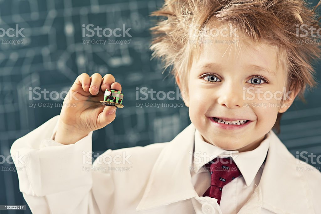 Little inventor stock photo