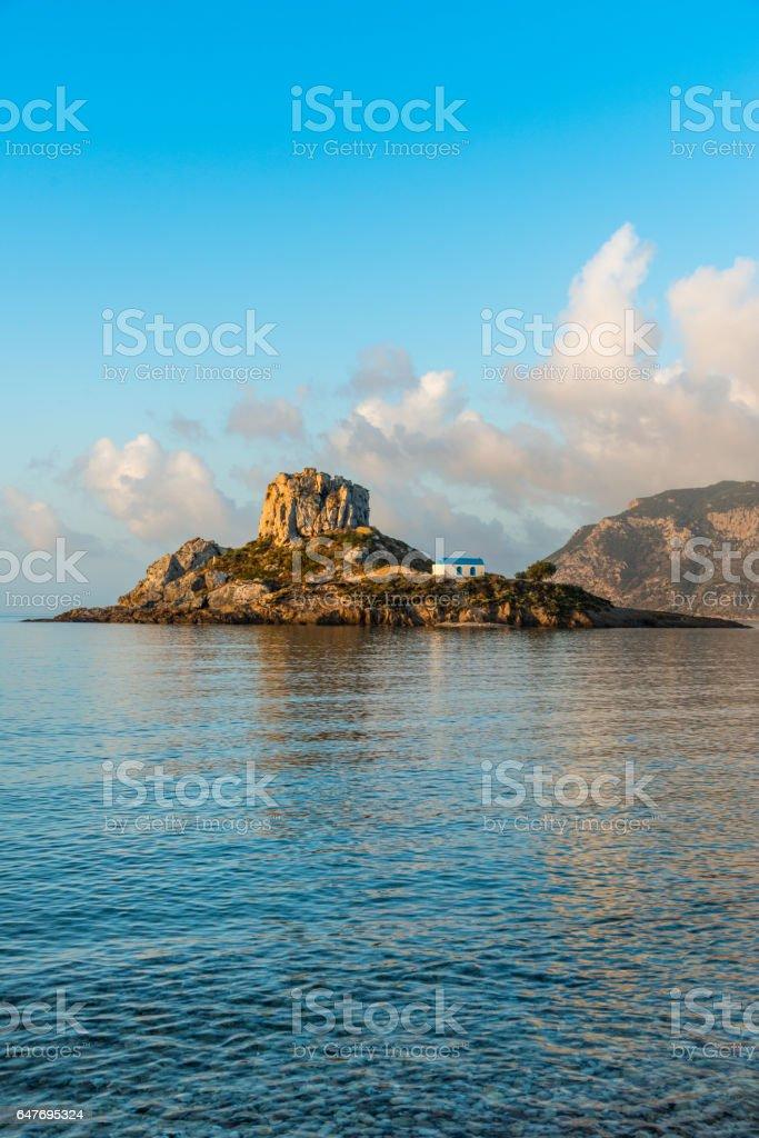 Little island Kastri near Kos, Greece stock photo