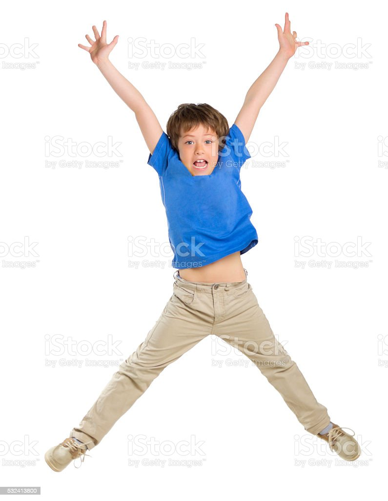 Little jumping boy isolated stock photo