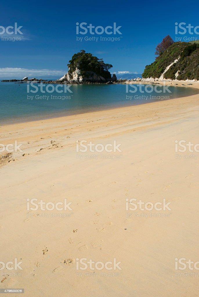 Little Kaiteriteri Beach and Torlesse Rock, NZ stock photo