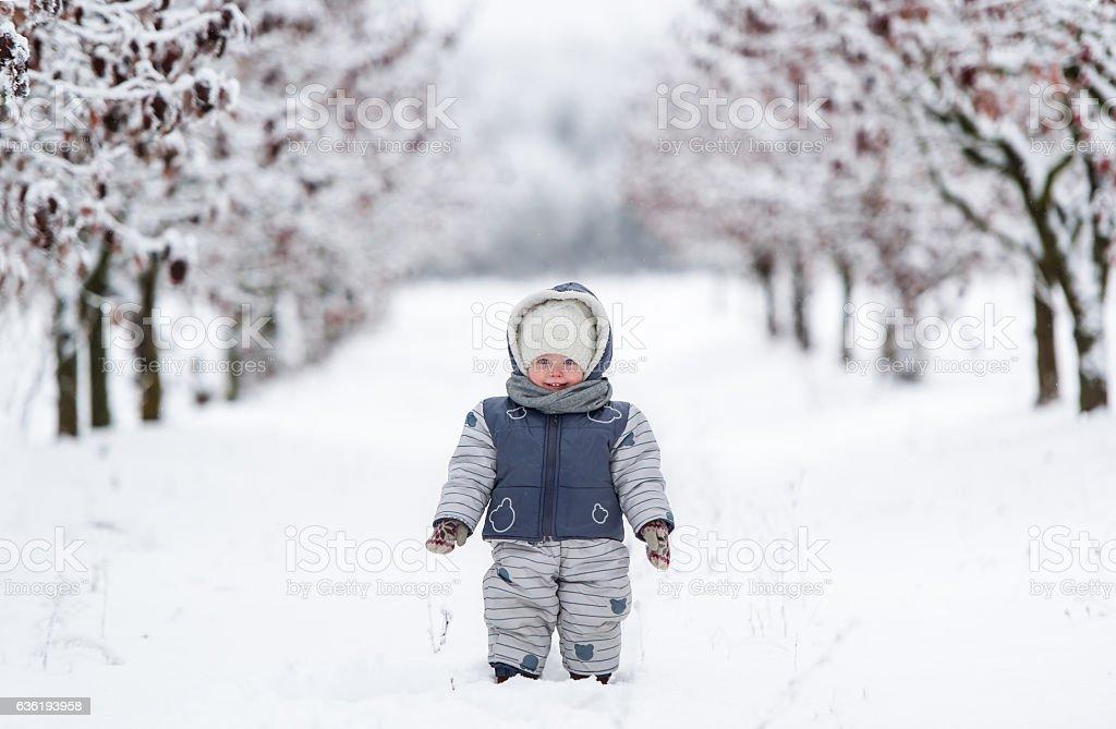 Little kid in snowsuit stock photo