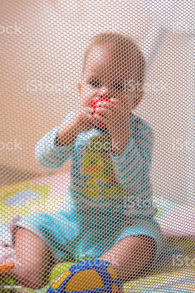 little kid playing with toys in a playpen stock photo