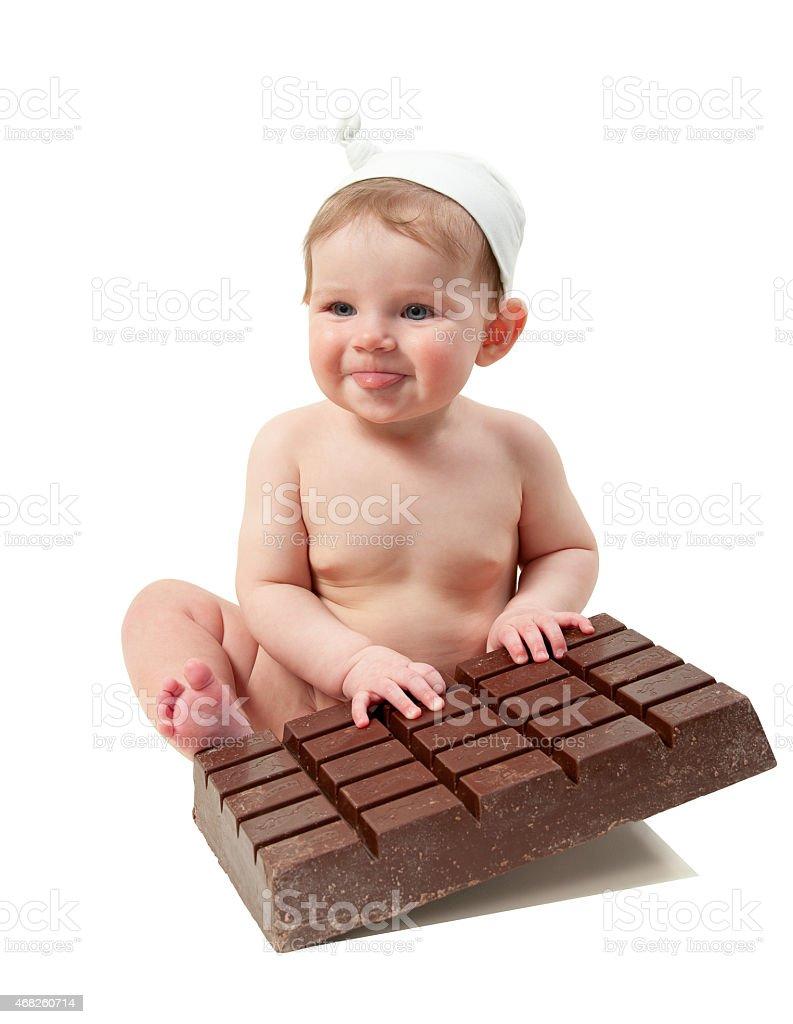 Kleines Kind mit Schokolade Lizenzfreies stock-foto