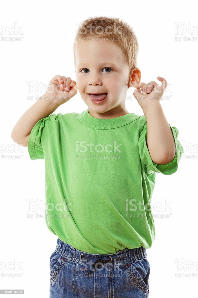 Little kid with funny face stock photo