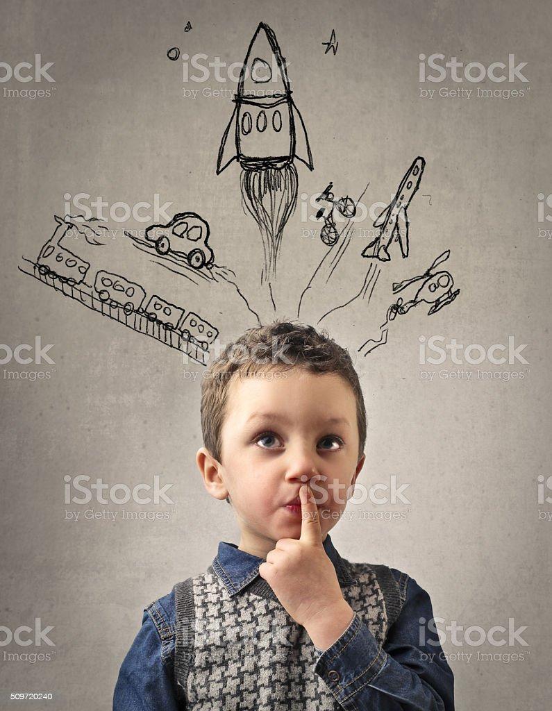 Little Kid's Imagination stock photo