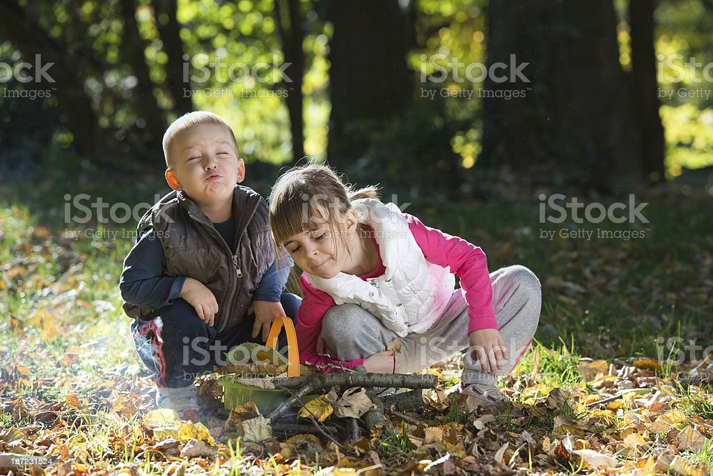 little kids in nature royalty-free stock photo