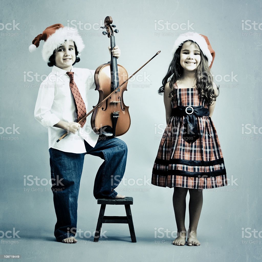 little kids performing an xmas song royalty-free stock photo