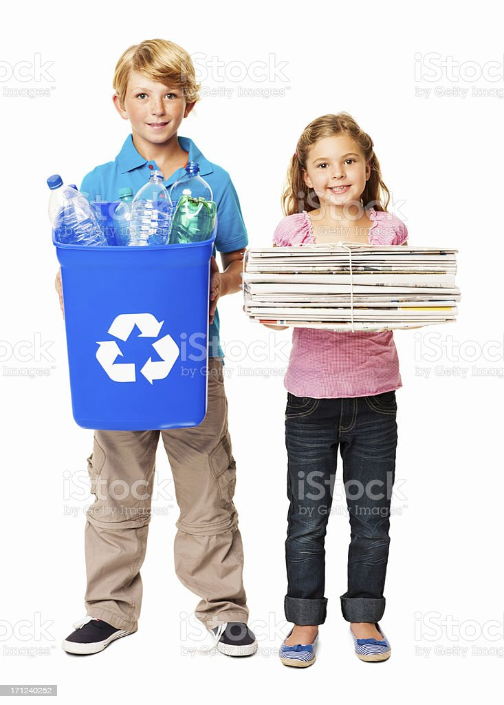 Little Kids Recycling - Isolated royalty-free stock photo