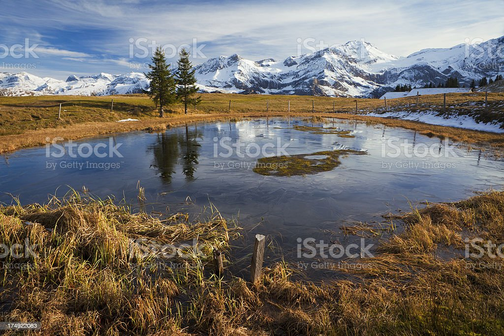 Little lake and high mountains stock photo