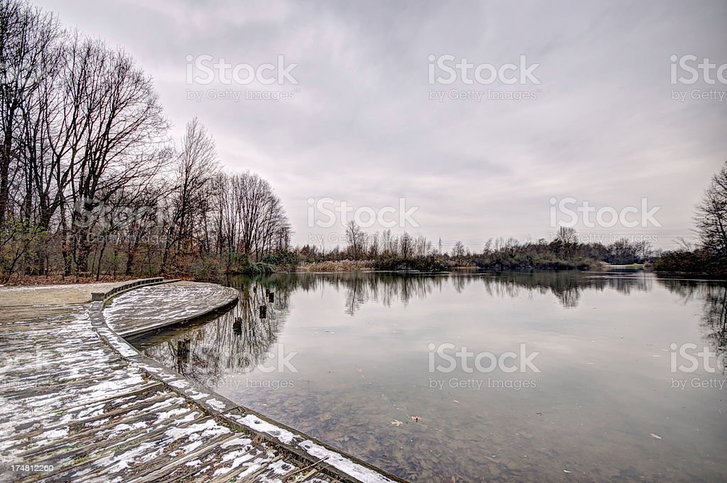 Little lake in Winter stock photo