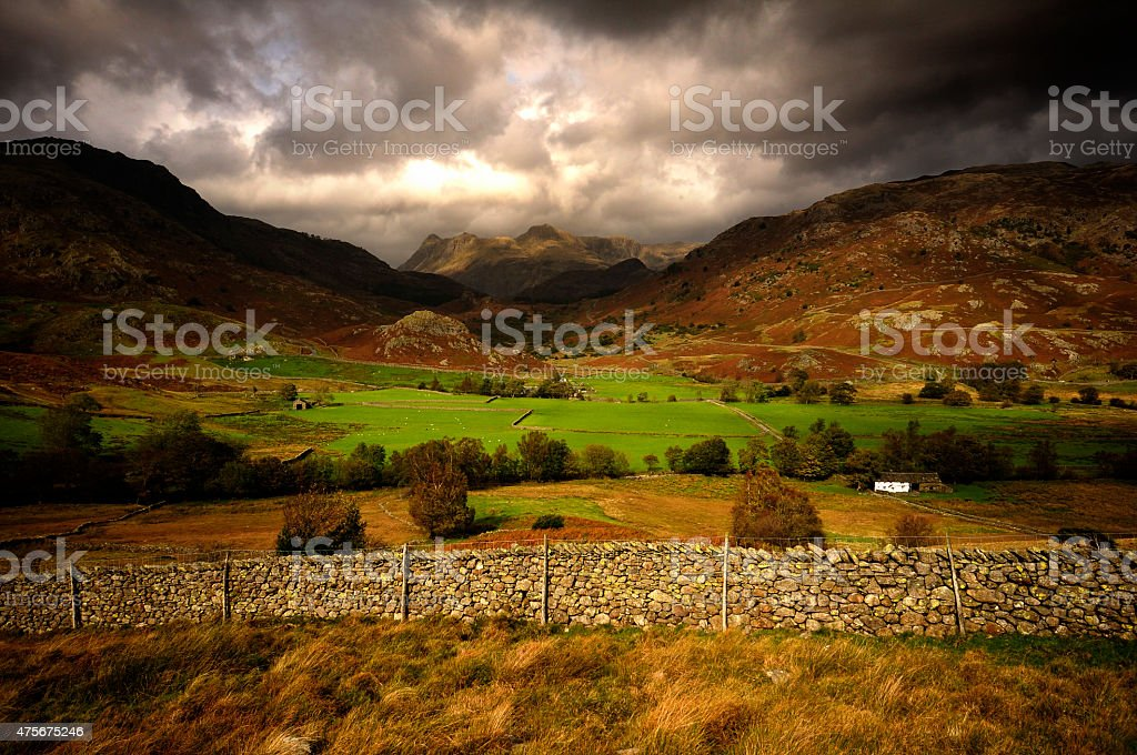 Little Langdale and Langdale Pikes stock photo