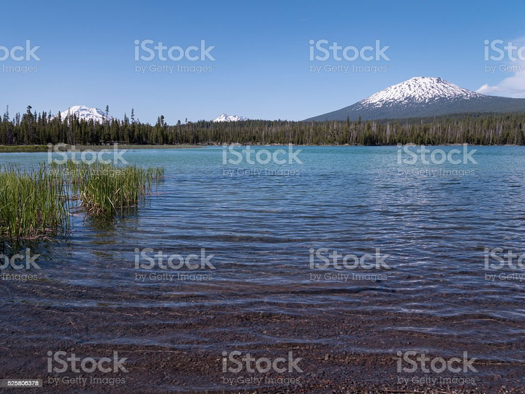 Little Lava Lake and Central Oregon Cascade mountains stock photo