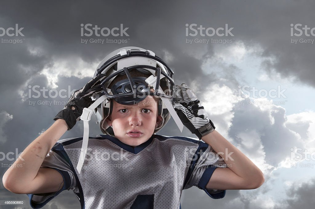 Little League American Football Player stock photo