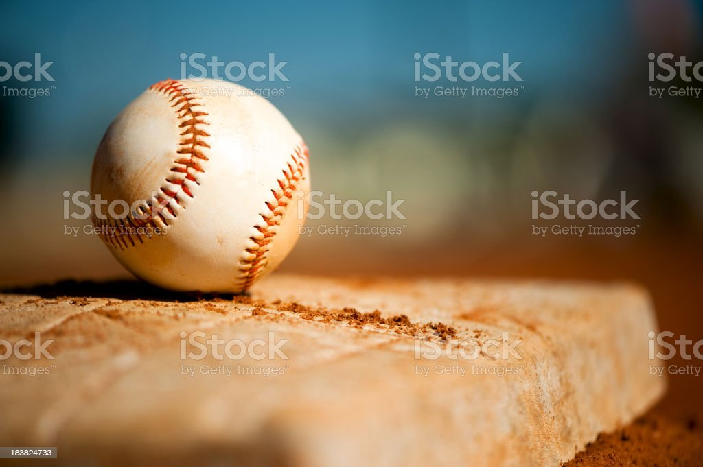 Little League Baseball on First Base Close Up stock photo
