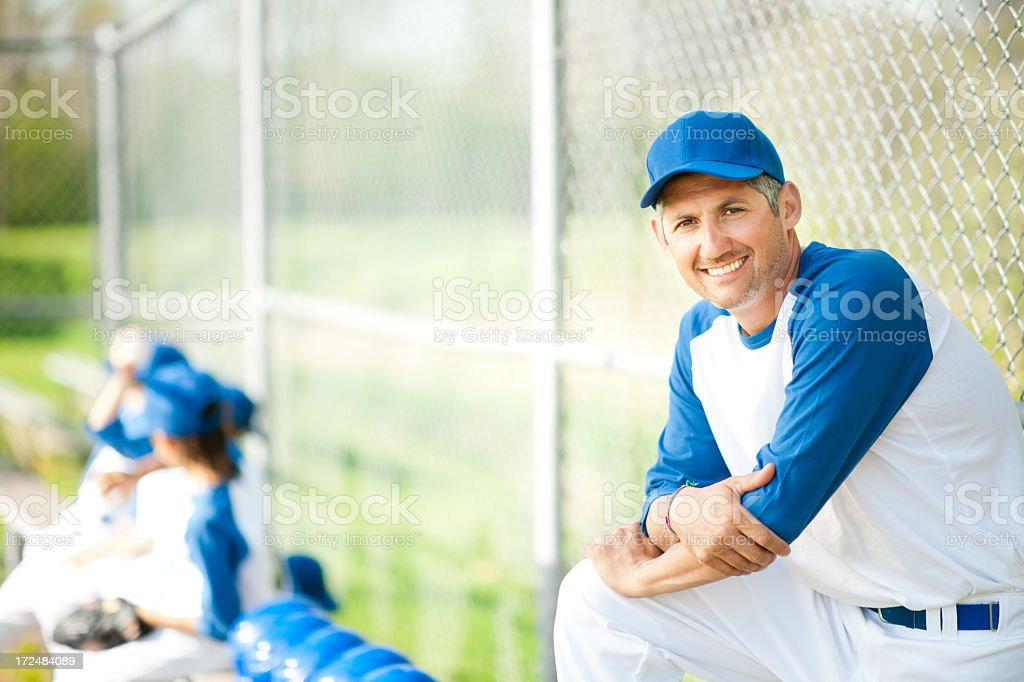 Little League Boys Baseball Coach stock photo