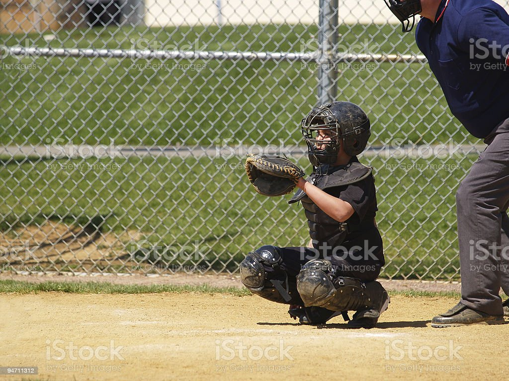 little league catcher stock photo