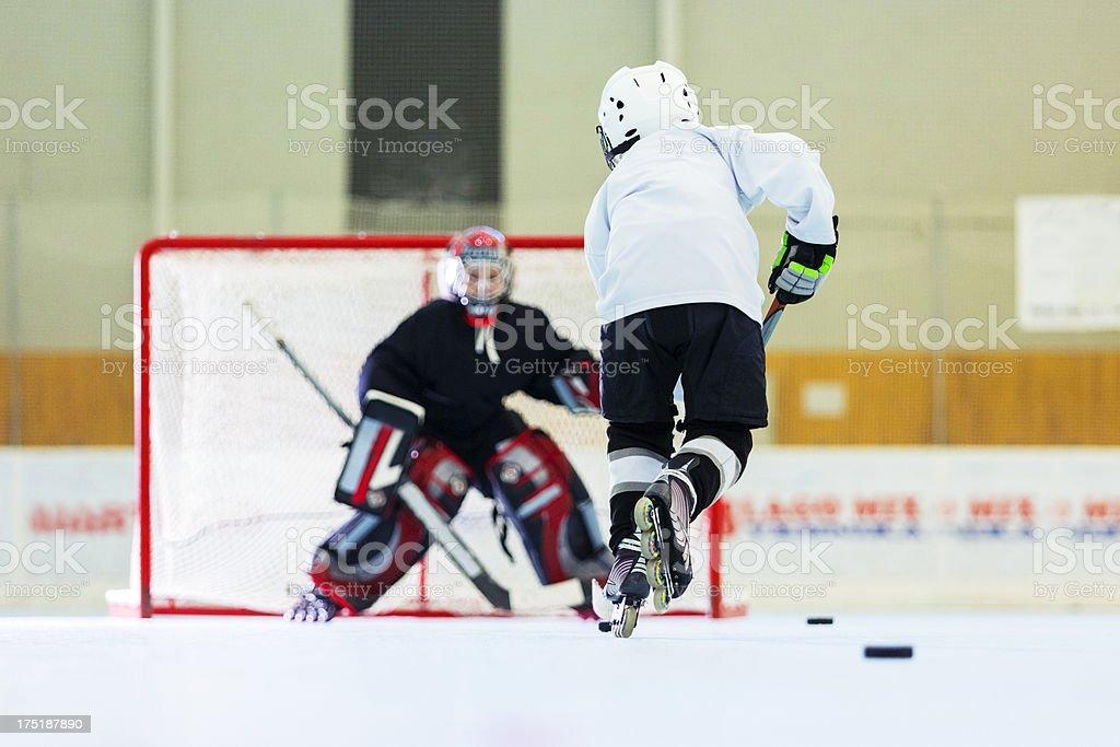 Little league kids roller hockey training royalty-free stock photo