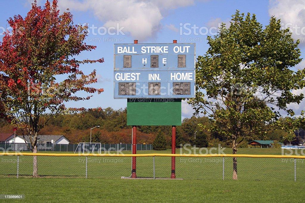 Little League Scoreboard stock photo