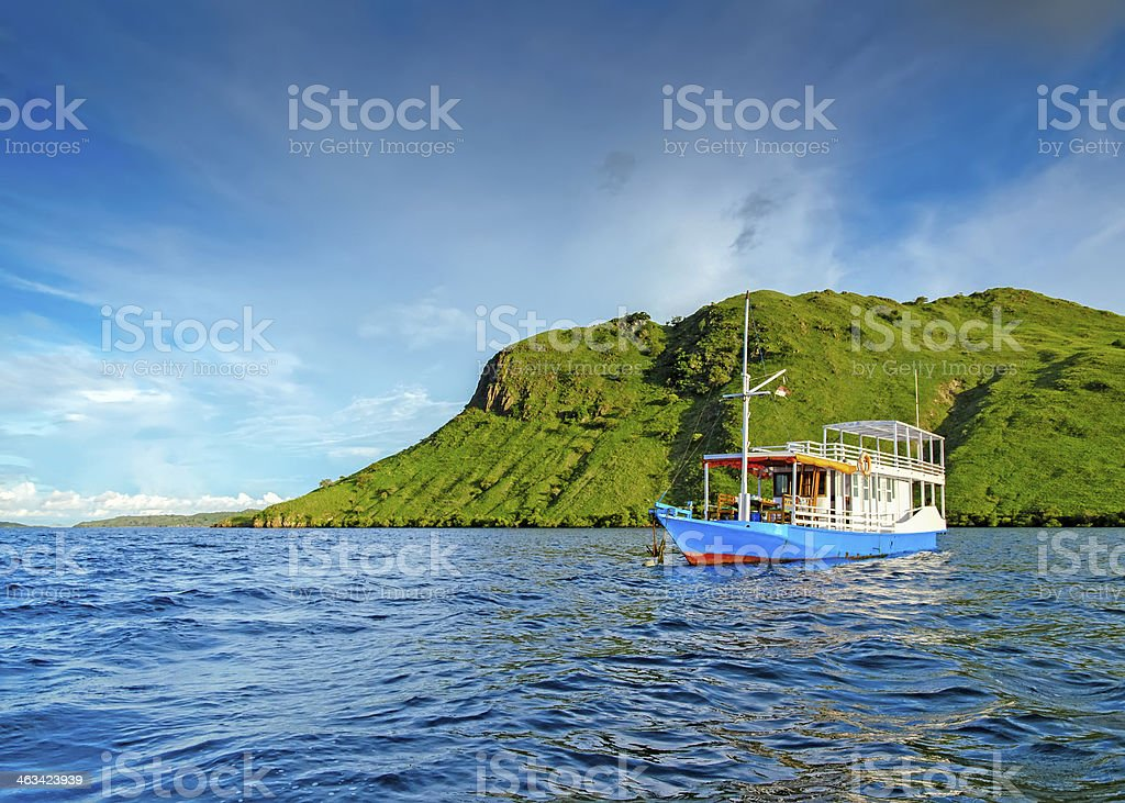 Little lonely boat stock photo