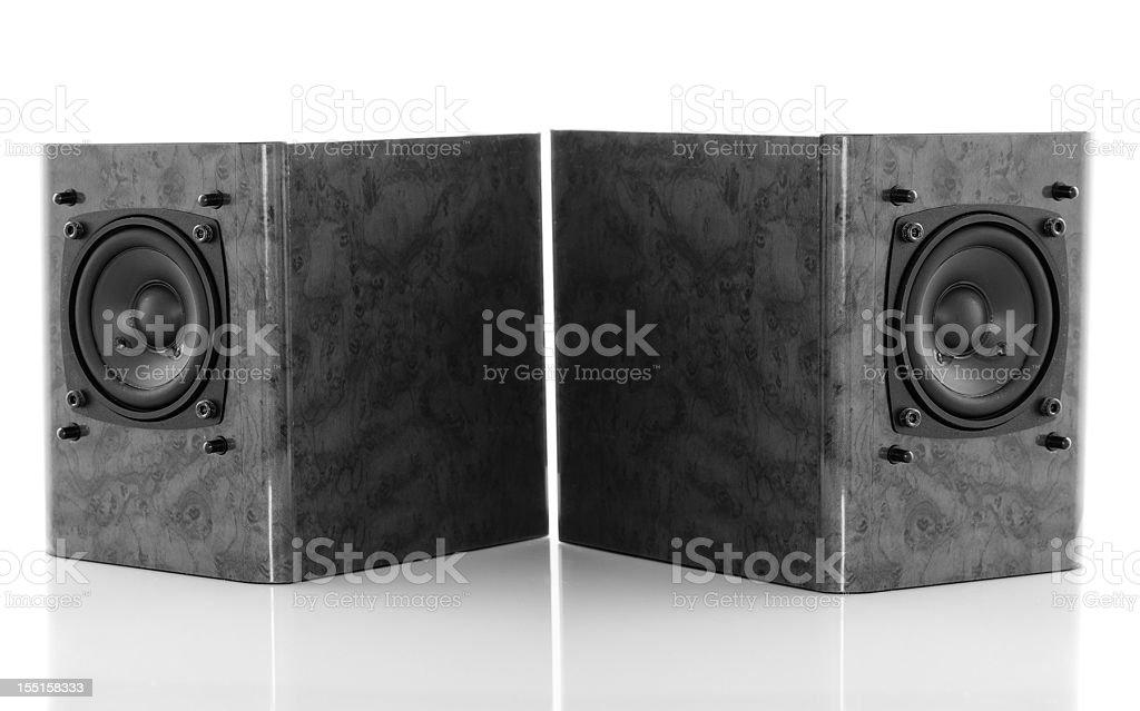little loudspeaker boxes on white stock photo
