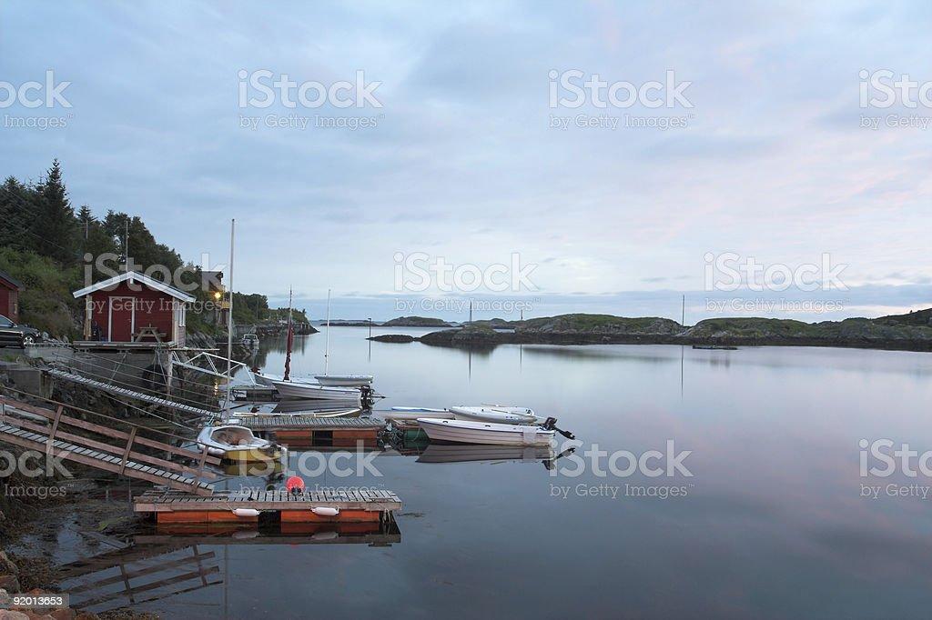Little marina in twilight royalty-free stock photo