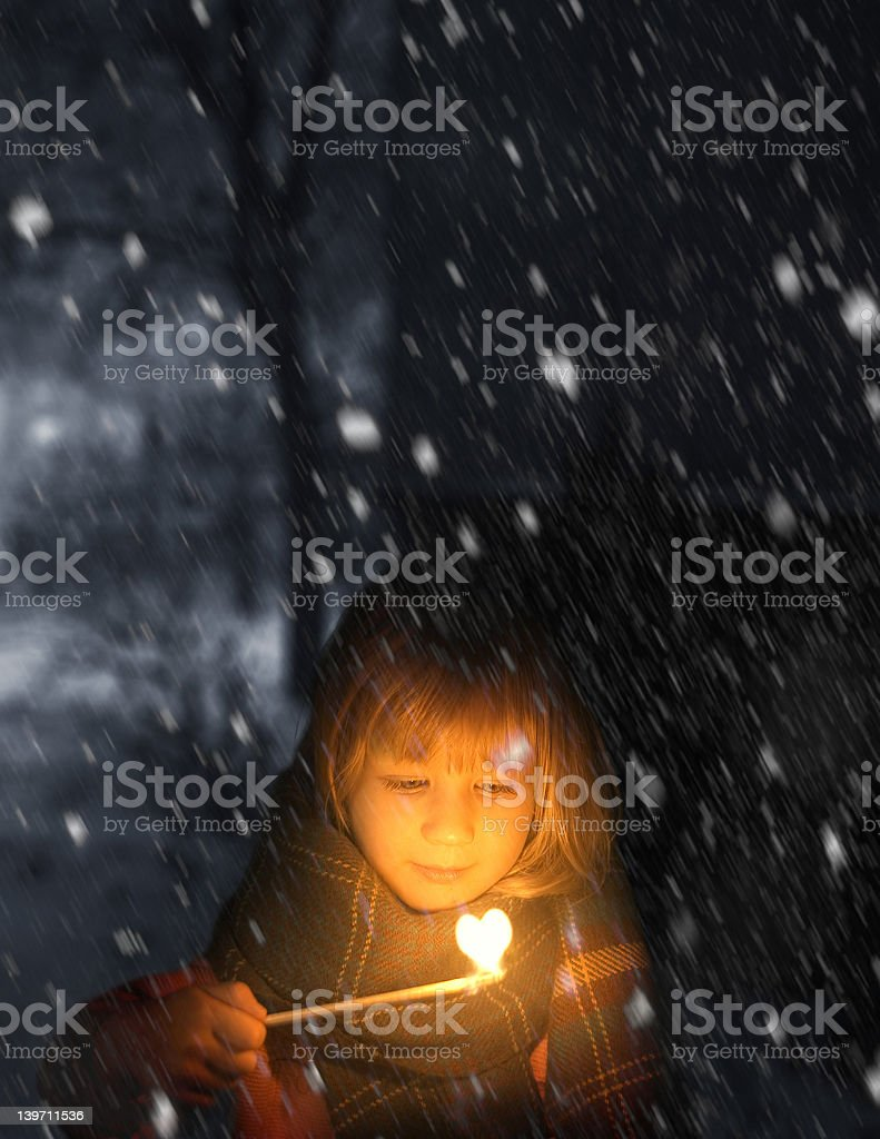 little match stick girl stock photo