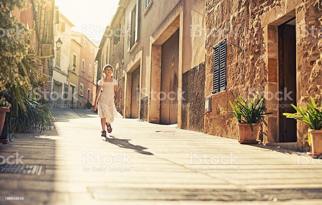 Little mediterranean girl stock photo