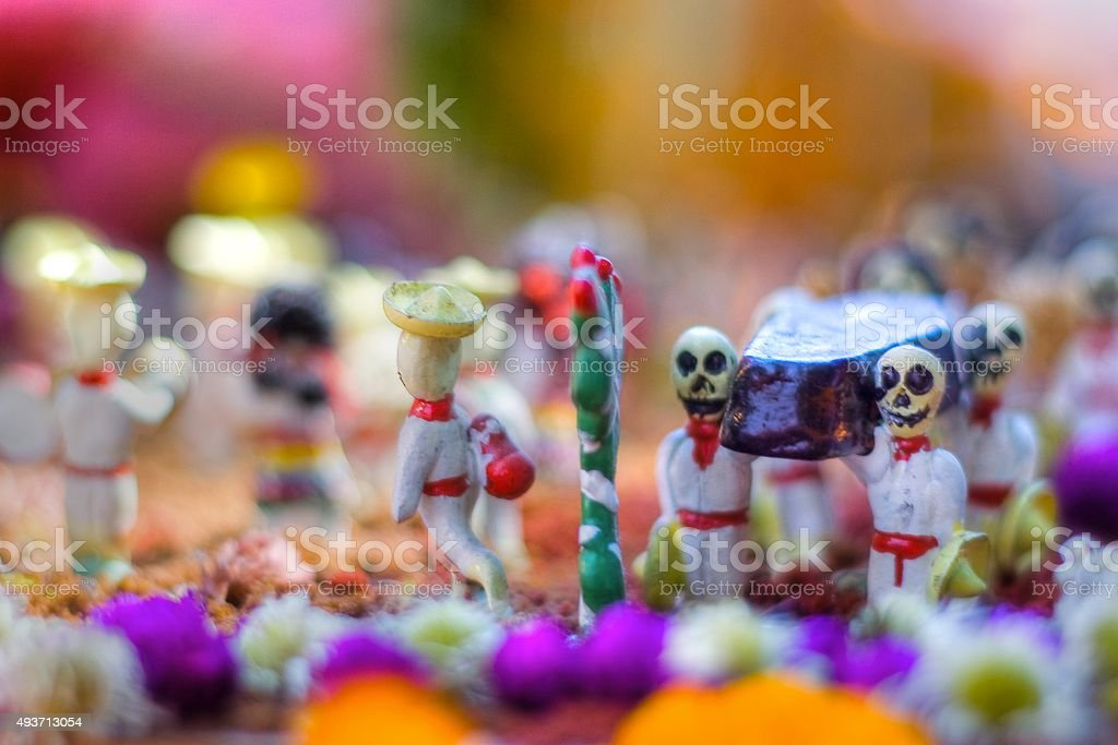 Little mexican skulls from Day of the Dead in Mexico stock photo