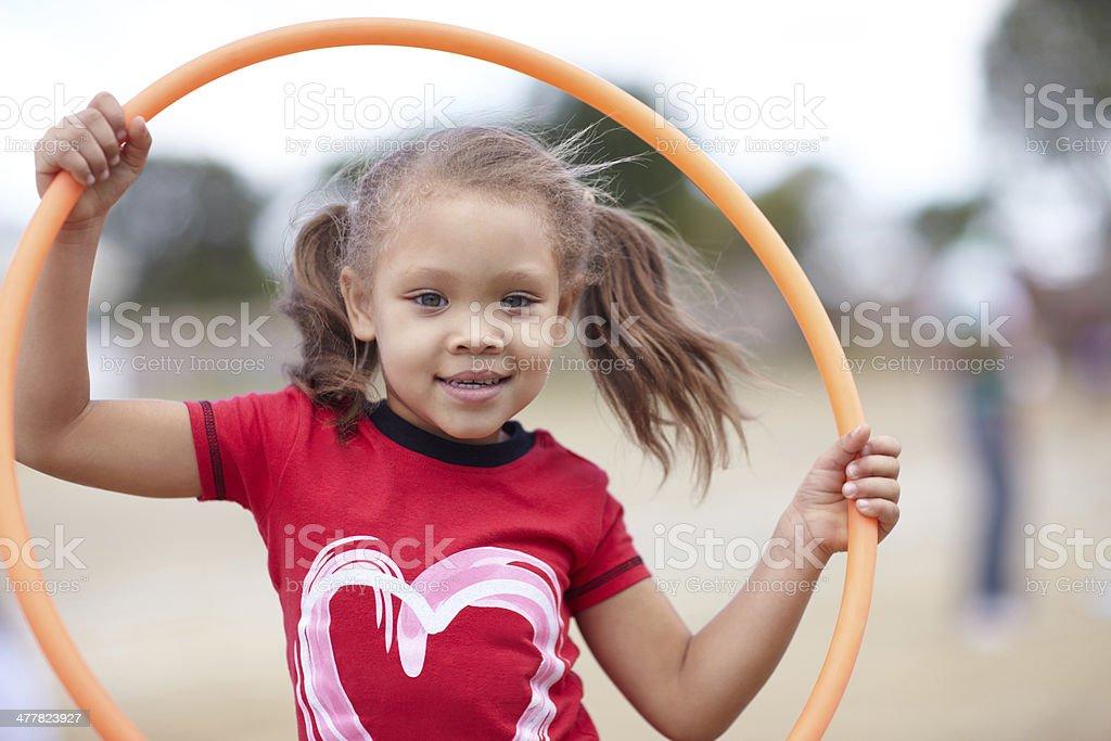 Little miss hoola hoop stock photo