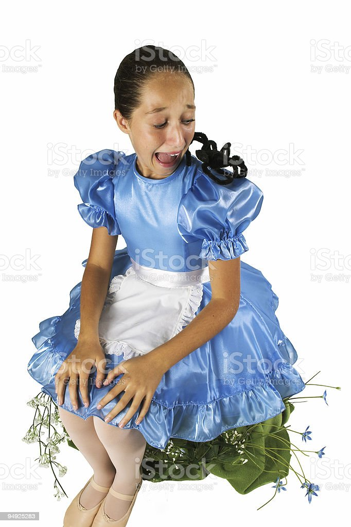 Little Miss Muffet - Frightened stock photo