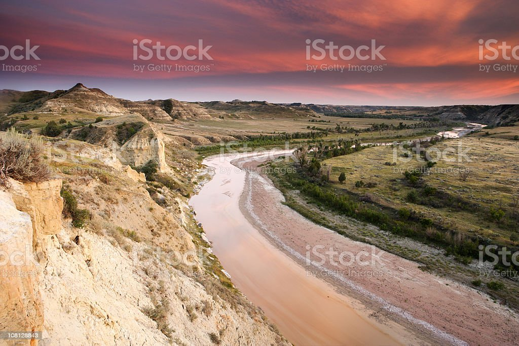 Little Missouri River Landscape at Sunset stock photo