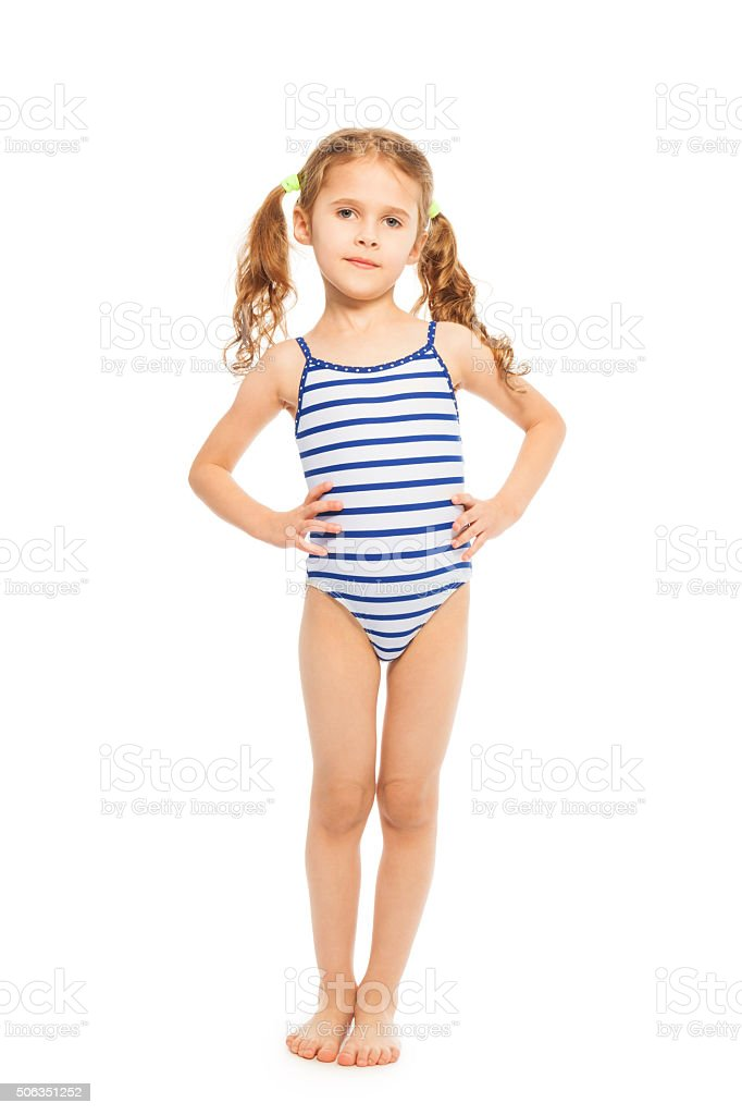 Little model in stripped swimming suit stock photo