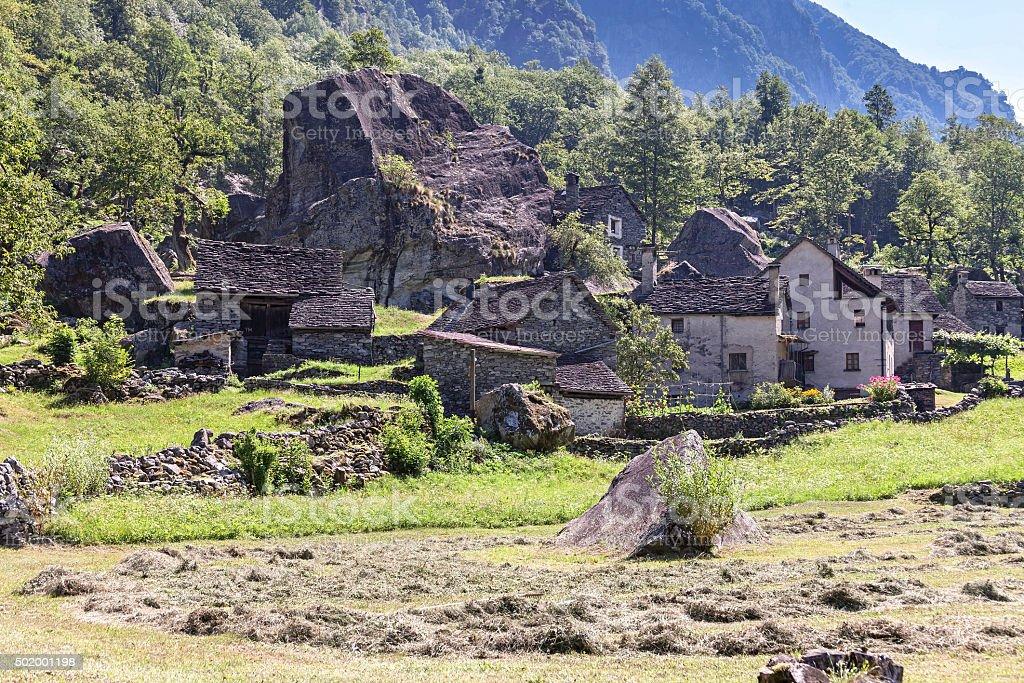 Little mountain village in Ticino stock photo