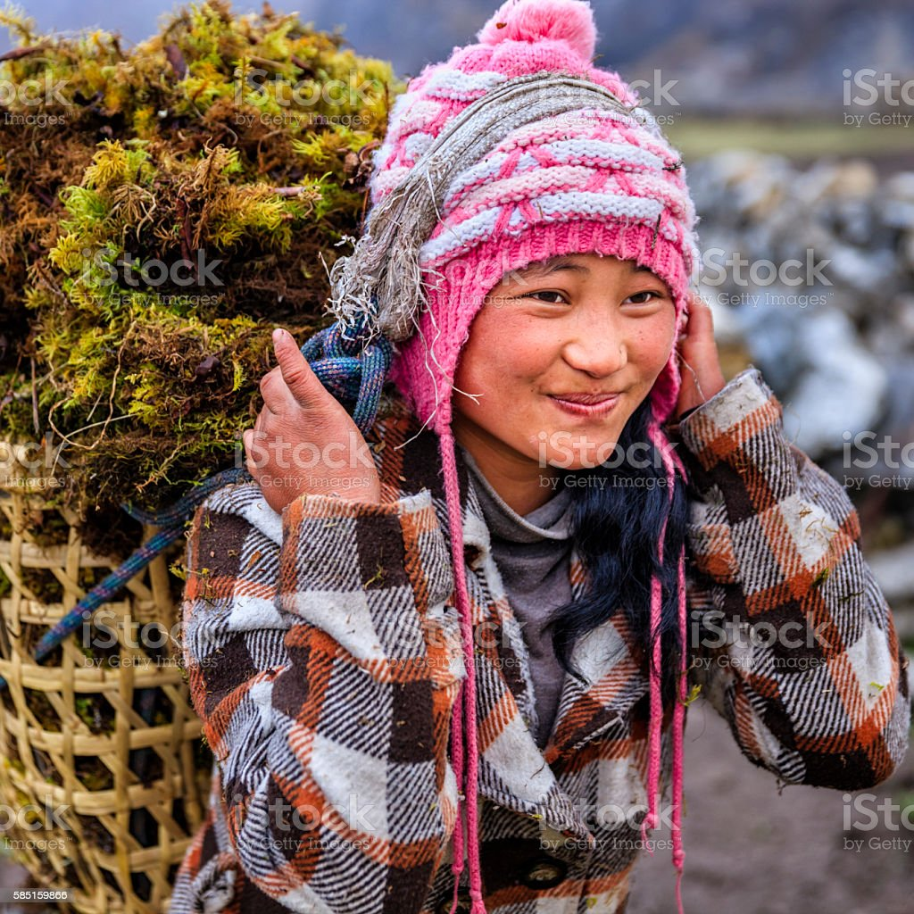 Little Nepali girl carrying basket full of moss stock photo