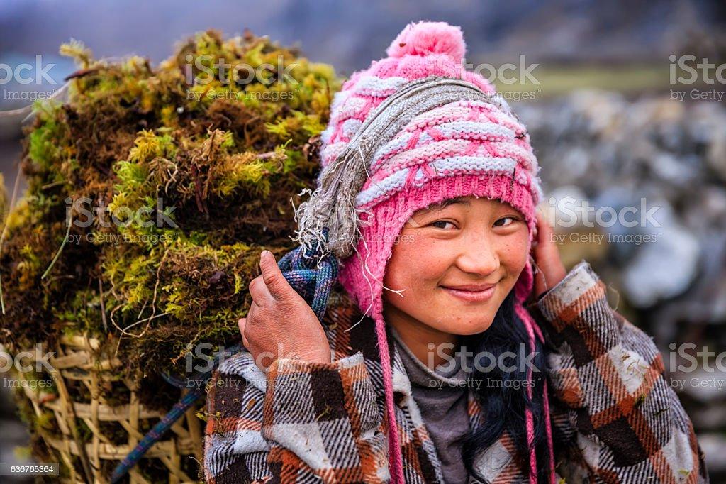 Little Nepali girl carrying basket full of moss stock photo
