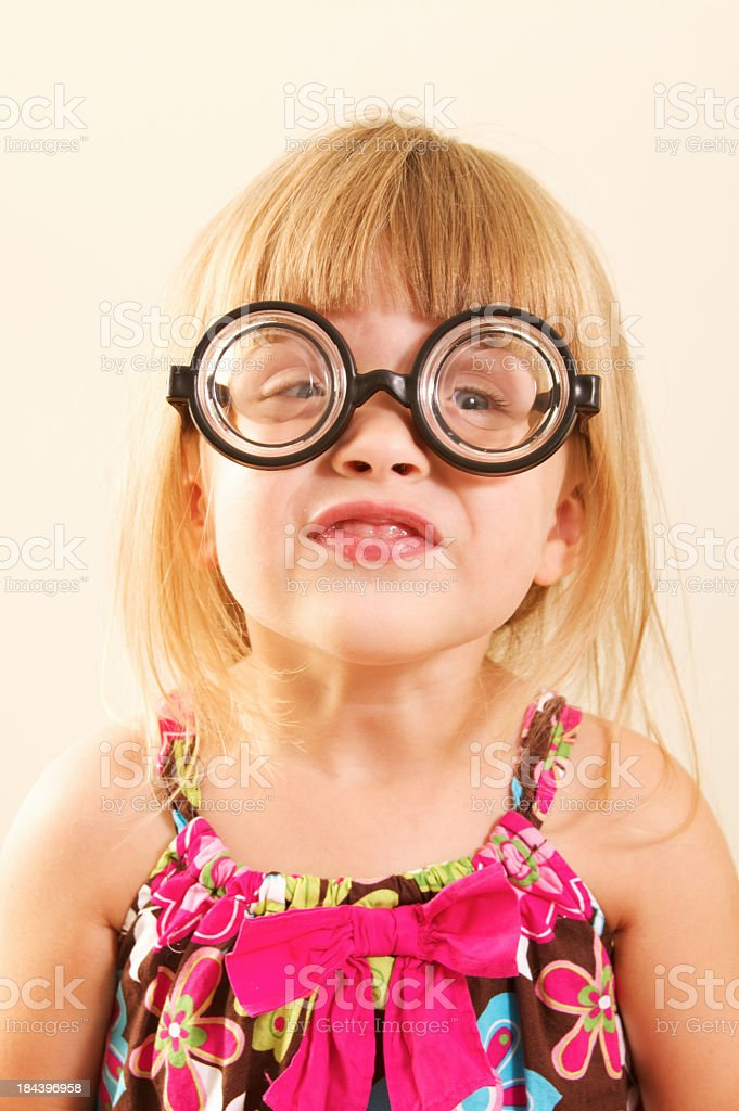 Little Nerdy Girl in Glasses royalty-free stock photo