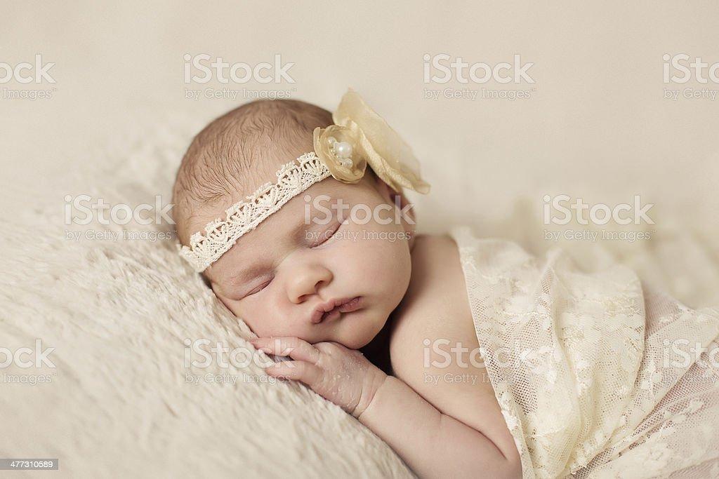 Little newborn baby 14 days, sleeps royalty-free stock photo