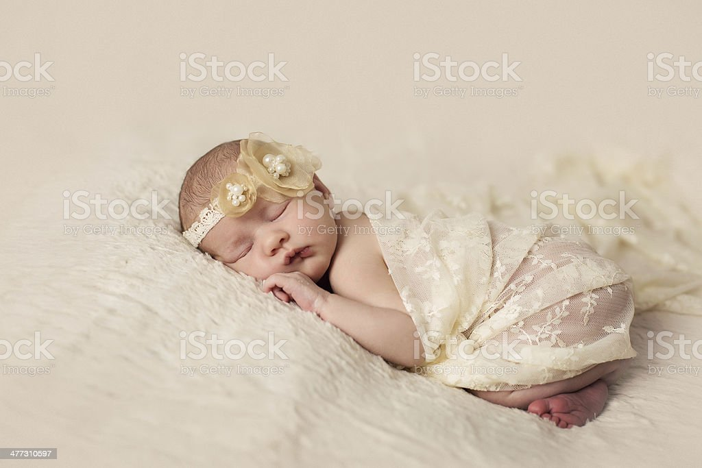 Little newborn baby 14 days, sleeps royalty-free stock photo