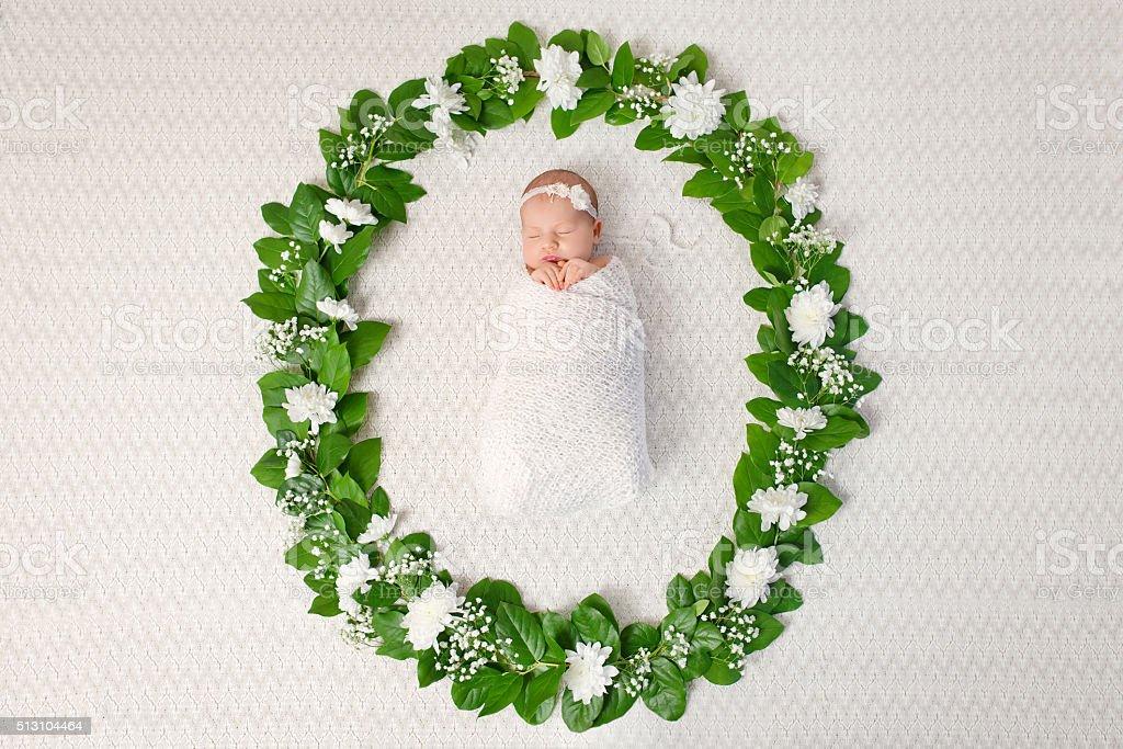 Little newborn girl 11 days, sleeps. Beautiful newborn girl and flowers stock photo