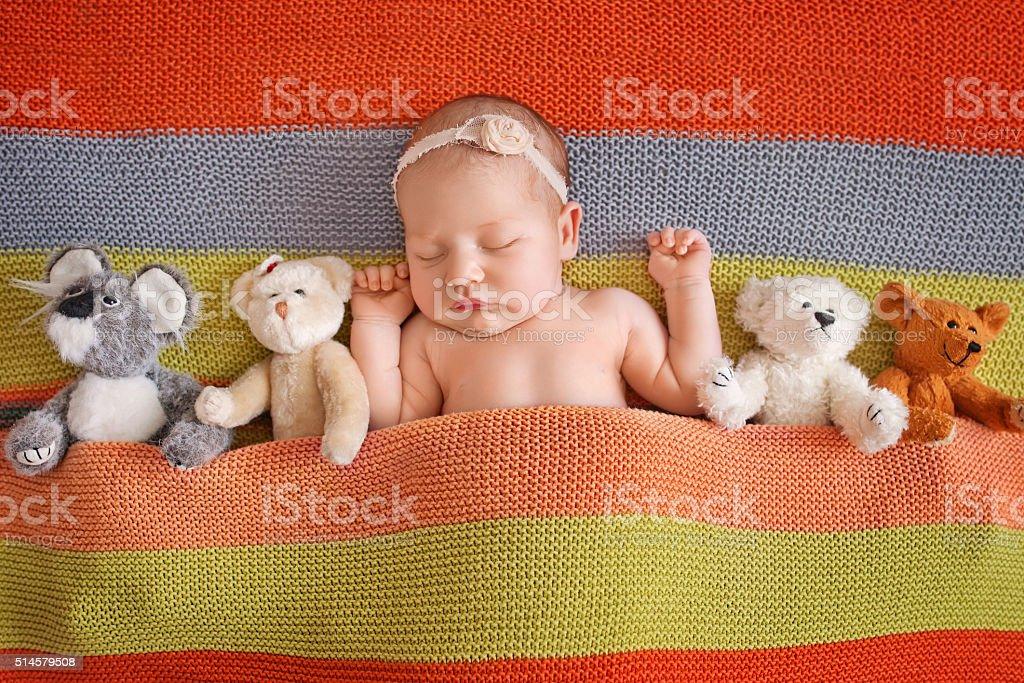Little newborn girl 11 days, sleeps. Beautiful newborn wiеh teddybear stock photo