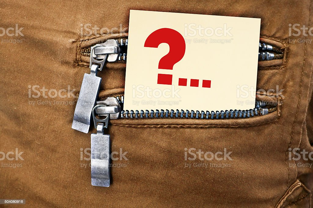 Little note in the back pocket of jeans stock photo