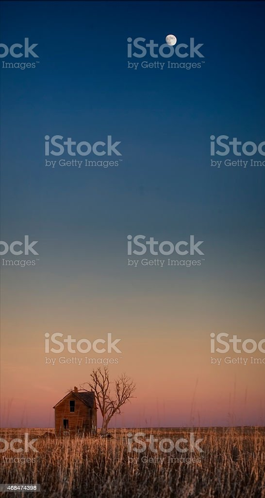 Little Old House on the Prairie - Moonrise stock photo