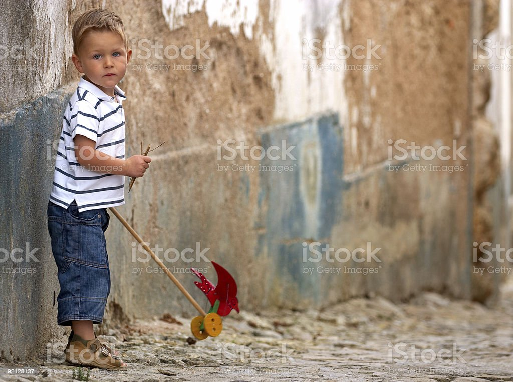 Little one with handmade toy royalty-free stock photo