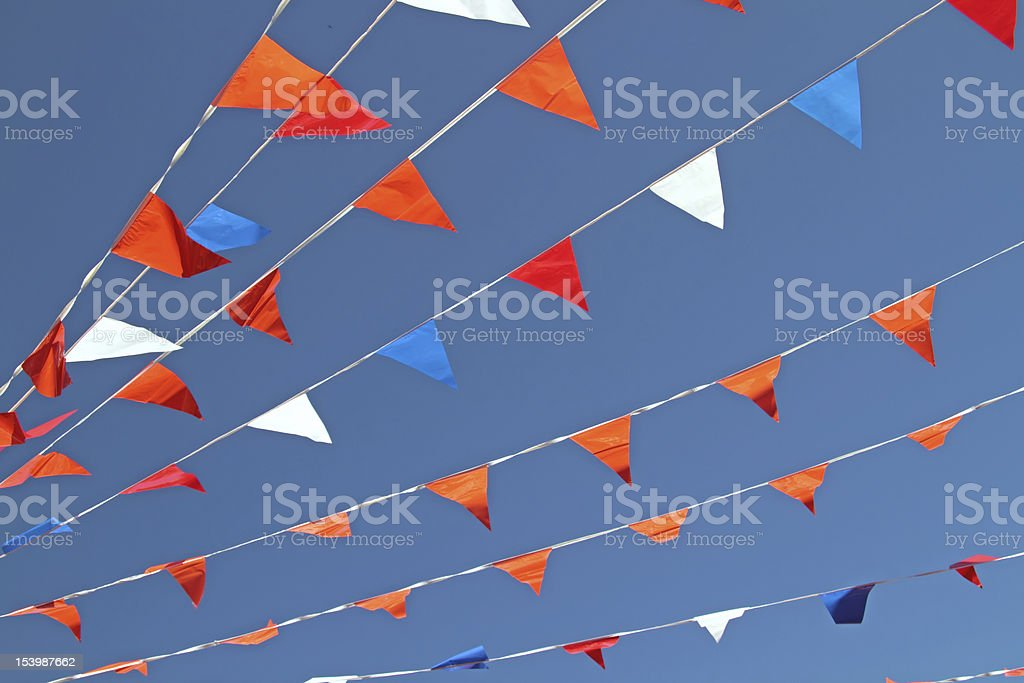 Little orange, white and blue flags royalty-free stock photo