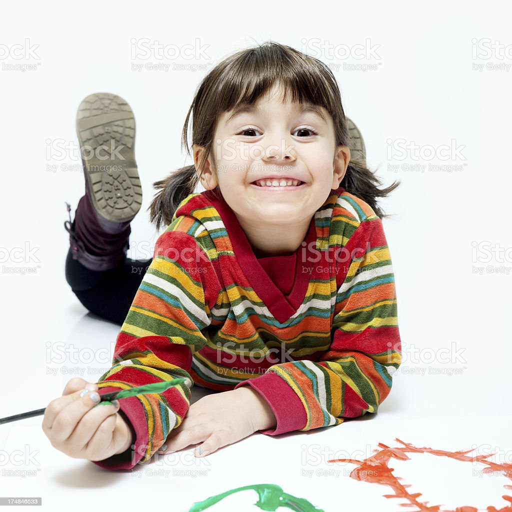 Little painter girl. royalty-free stock photo